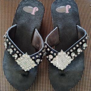 Justin Beautiful Crystal Wedge Flip-flops.